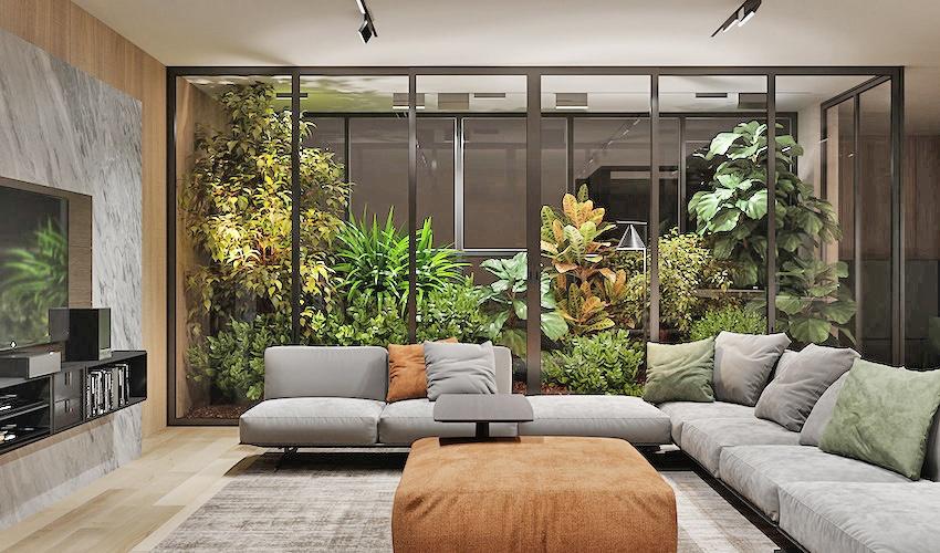 Phòng khách với không gian tự nhiên